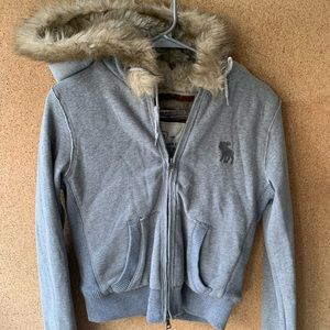 Abercrombie and Fitch gray faux fur lined hoodie